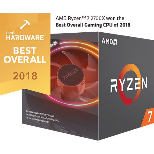 CPU AMD Ryzen 7 2700X có tản LED RGB Wraith Prism (8-core/16-thread, 3.7GHz-4.35GHz, 20MB, 105W TDP)